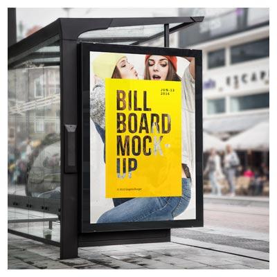 فایل psd موکاپ بنرهای تبلیغاتی در ایستگاه اتوبوس