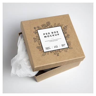 موکاپ لایه باز باکس و جعبه کارتنی (جعبه هدیه و کفش)