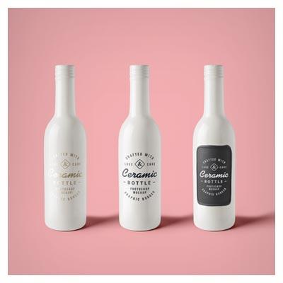 دانلود موکاپ (پیش نمایش) بطری های سرامیکی سفید