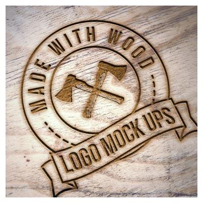 موکاپ (پیش نمایش) لوگوی حک شده بر روی چوب (داغی روی چوب)