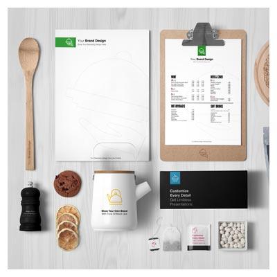 مجموعه موکاپ ست اداری مرتبط با آشپزی و مواد غذایی