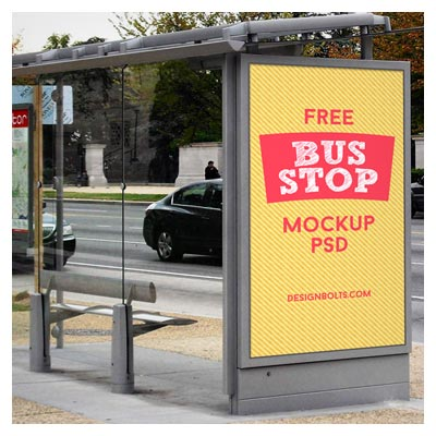 پیش نمایش تبلیغات شهری (نمایش طرح بر روی ایستگاه اتوبوس شهری)