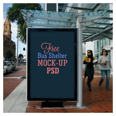 موکاپ نمایش دیزاین و طرح بر روی ایستگاه اتوبوس