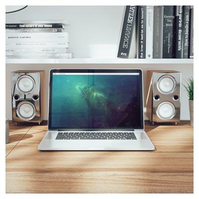 فایل لایه باز پیش نمایش مک بوک روی میز