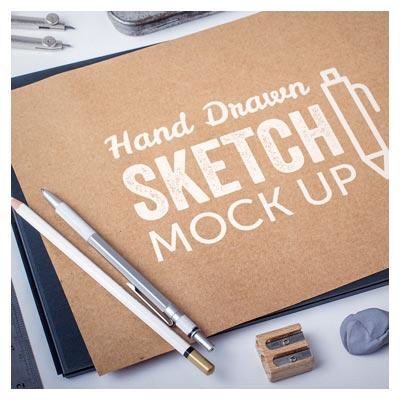 موکاپ لایه باز Hand Drawing (اسکچ روی کاغذ)