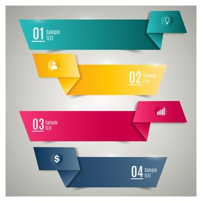 مجموعه چهار بنر کاغذ تاخورده رنگی بصورت لایه باز وکتور