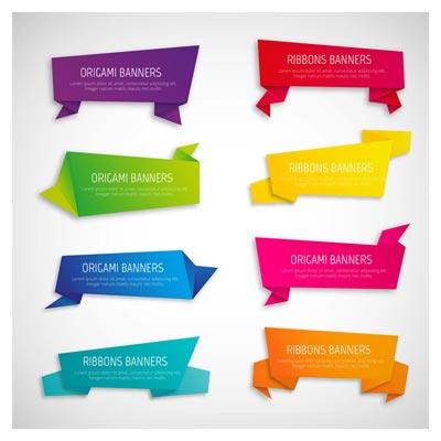 دانلود رایگان مجموعه وکتور لیبل های کاغذ رنگی