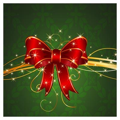وکتور روبان کریسمس بصورت لایه باز با پس زمینه سبز تیره