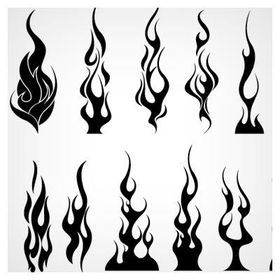 مجموعه 14 المان و نماد شعله های آتش با فرمت وکتور