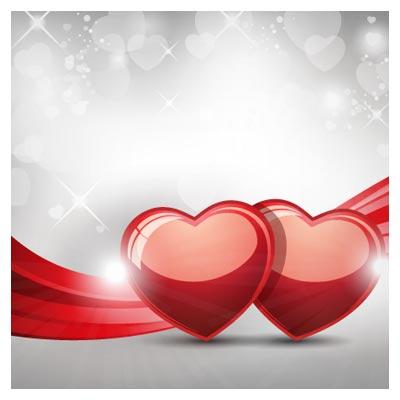بکگراند وکتور قلب های قرمز همراه با نوار موجی شکل