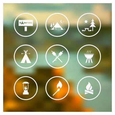مجموعه 6 آیکون با موضوع کمپ و سفر به طبیعت