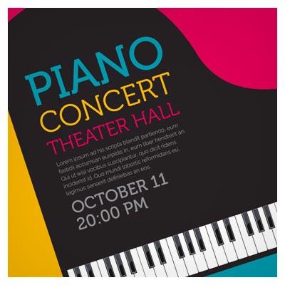 پوستر لایه باز وکتو با موضوع موسیقی و پیانو