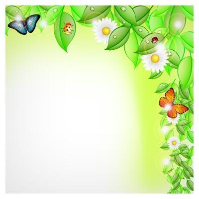 بنر و پس زمینه لایه باز گلها و برگهای بهاری