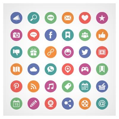 مجموعه آیکون های متنوع وب ، شبکه های اجتماعی و ... (لایه باز)