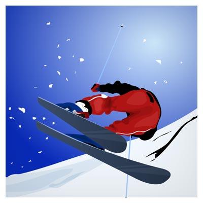 وکتور ورزش اسکی در برف (مرد اسکی سوار)