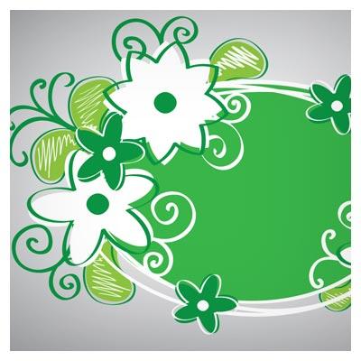 بنر لایه باز گل های سبز رنگ بیضی شکل
