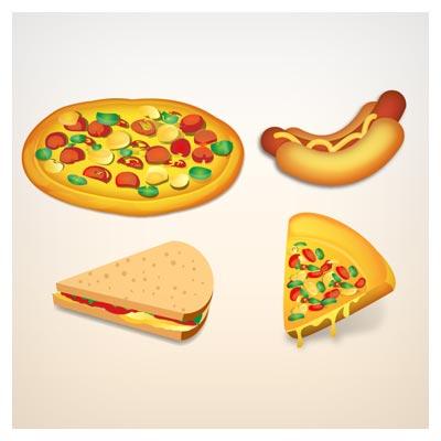 وکتور پیتزا ، همبرگر و سوسیس بصورت لایه باز (فست فود)