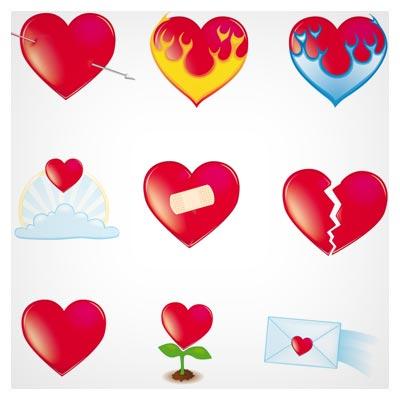 وکتور مجموعه المان های عشق (قلب ، نامه عاشقانه و ...)