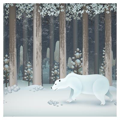 وکتور کارتونی خرسی در جنگل برفی
