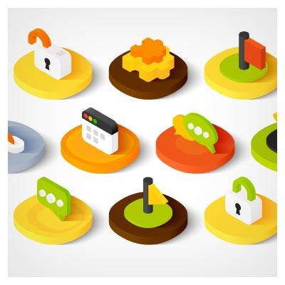 آیکون های لایه باز و سه بعدی وب (Web design icons)