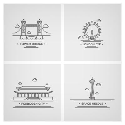 وکتور خطی مجموعه نمادهای معروف شهرهای مختلف جهان