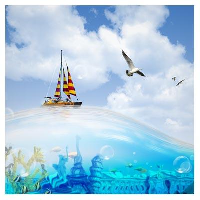 PSD دریا و شهر دریایی بصورت لایه باز