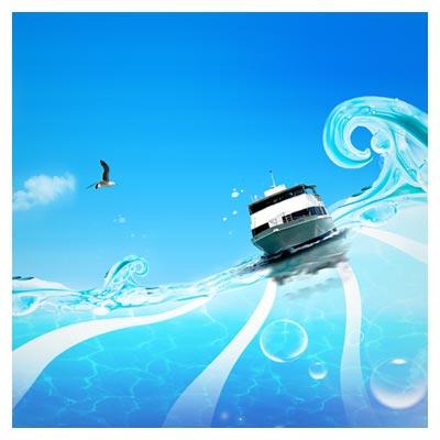 فایل لایه باز کشتی و دریای مواج (PSD)