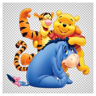 فایل png (دوربری شده) بدون پس زمینه Pooh Eeyore and Tiger