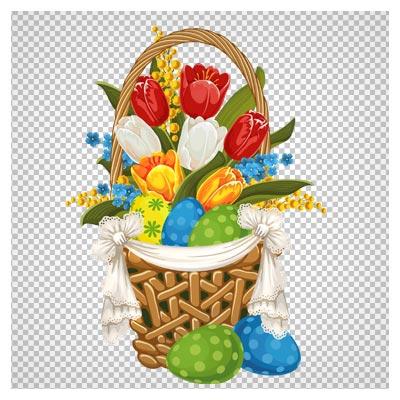 دانلود فایل png و دوربری شده سبد گلهای لاله و تخم مرغهای رنگی (Painted Easter Basket with Easter Eggs PNG Clipart)