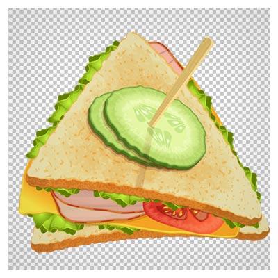 فایل بدون پس زمینه و دوربری شده ساندویچ صبحانه (اسنک)