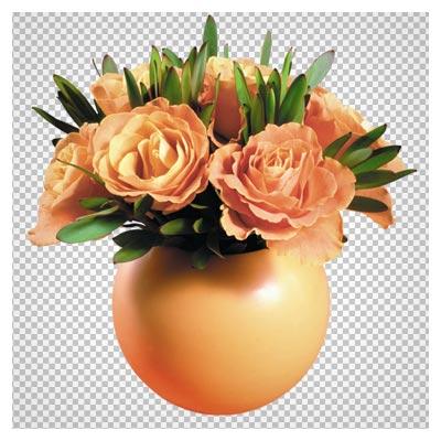 فایل دوربری شده گلدان گلهای رز نارنجی