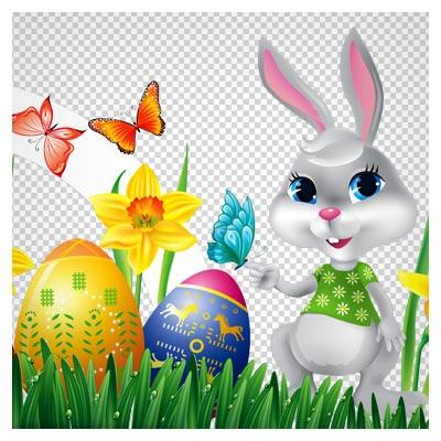 عکس کارتونی png و بدون پس زمینه خرگوش ، تخم مرغهای رنگی و طبیعت (Easter Bunny with Daffodils Eggs and Grass Decor PNG)