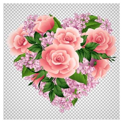 تصویر دوربری شده دسته گل قلبی شکل (گلهای رز و یاس)
