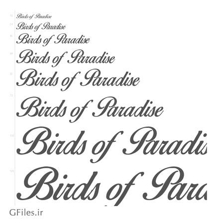 دانلود فونت رایگان دست خط (خوشنویسی) انگلیسی (Birds of Paradise)