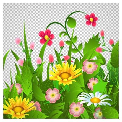 فایل png گل و بوته های سبز کارتونی