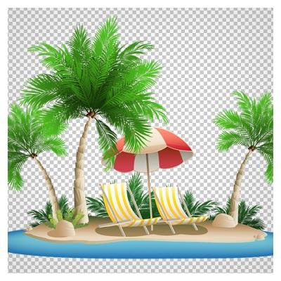 تصویر png ساحل و درختهای نارگیل