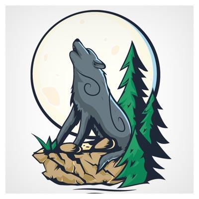 فایل لایه باز وکتور گرگ در جنگل (ai)