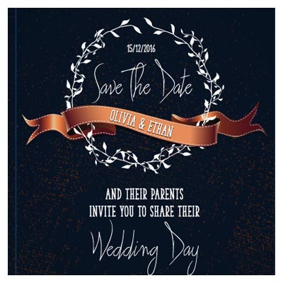 وکتور کارت عروسی (کارت دعوت) با تم رنگی مشکی