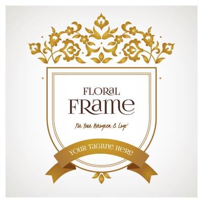 فریم و قاب وکتوری لایه باز طلایی (Floral Frame)