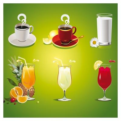 مجموعه شیر ، چای و آب میوه (انواع نوشیدنی) با فرمت وکتور