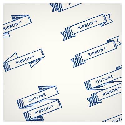 مجموعه روبان های خطی رسم شده با دست بصورت لایه باز
