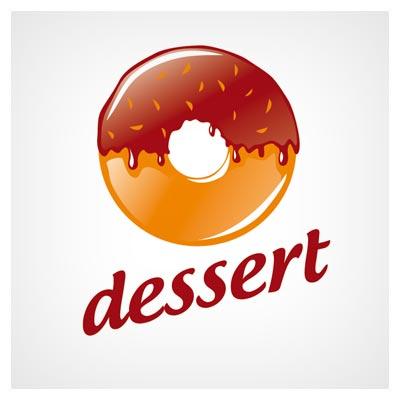 لوگوی وکتور شیرینی شکلاتی (Round donut Logo)
