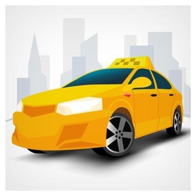 وکتور تاکسی زرد (تاکسی سرویس) لایه باز