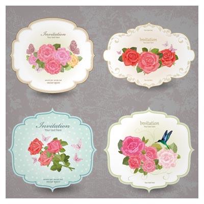 بنر و کارت دعوت های متنوع با طرحهای گل رز زیبا (وکتور)(Vintage Flower Invitation Cards Vector Set)
