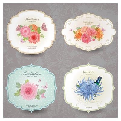 مجموعه کارت دعوت (لیبل یا بنر) وکتور از گل های زیبای (Vintage Flower Invitation Cards Vector Set)