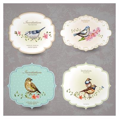 کارت های لایه باز دعوت وکتوری با طرح پرندگان (Vintage Invitation Cards With Birds Vector)