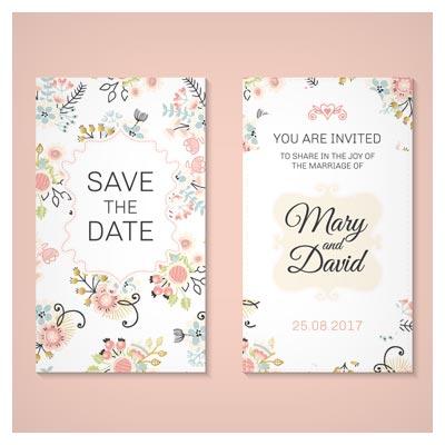کارت دعوت عروسی با گل های زیبای وکتور لایه باز