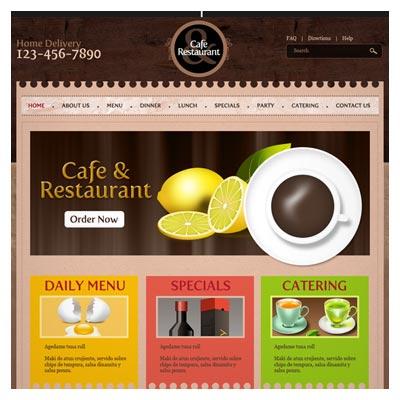 قالب سایت کافه و رستوران بصورت لایه باز با رنگ قهوه ای