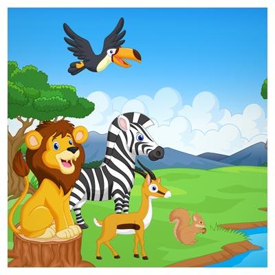 پس زمینه کارتونی و گرافیکی حیوانات جنگل در کنار رودخانه