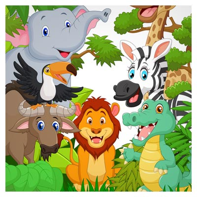 دانلود فایل رایگان بکگراند کارتونی حیوانات جنگل